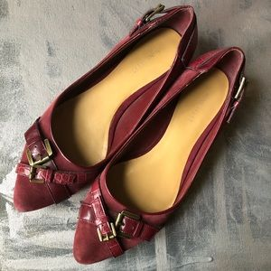 Nine West Pointed toe suede burgundy flats - 8.5